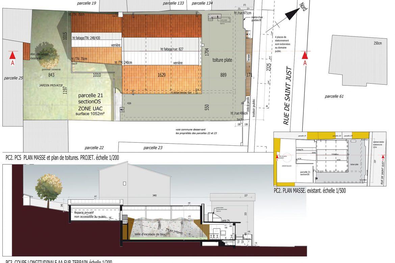 Blocabrac plan masse et coupe salle escalade à Saint Etienne