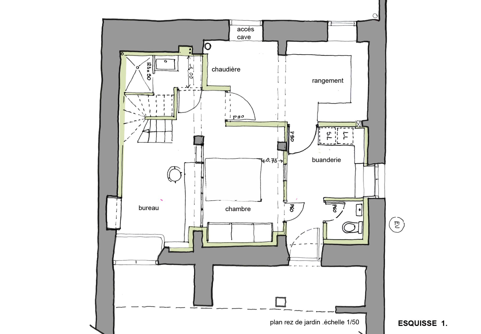 Aménagement d\'un rez de jardin 35m² et réaménagement du 1er ...